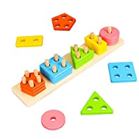 Geometric Sorter Board Wooden Building Blocks Shape Stack Color Recognition Puzzle Toys Early / Preschool Education for Toddler Children 1-6 Years Old