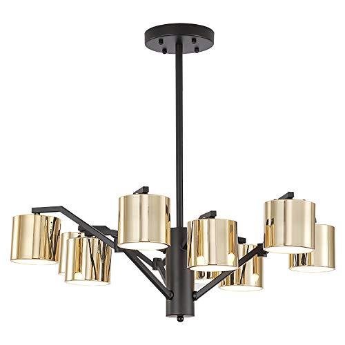 9 Flush-mount (SELMAL Vintage Ceiling Light, 9 Lights Industrial Semi Flush Mount Ceiling Lampe Black Wrought Iron Modern Chandelier für Wohnzimmer Schlafzimmer)