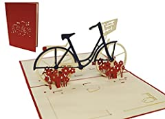 Idea Regalo - LIN - Pop Up 3D Biglietto d'auguri, Bicicletta da donna, (#156)