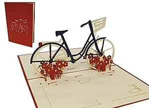 LIN-POP UP 3D Grußkarten Fahrrad, Glückwunschskarten Gutscheinskarten...