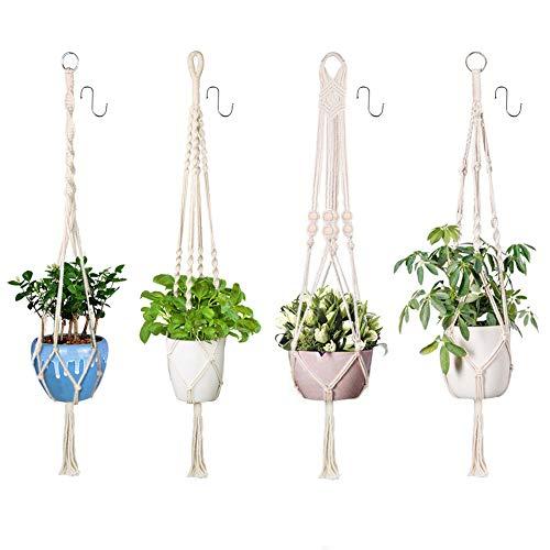 Xddias 4 Stück Makramee Blumenampel Baumwollseil Hängeampel, Blumentopf Pflanzen Halter Aufhänger Pflanzenhalter für Innen Außen Decken Balkone Wanddekoration