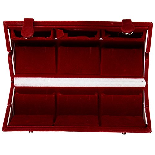 Style home earring and Organizers Tops organizer Jewelry Boxes (6cm x 6cmx 12 cm, Red)