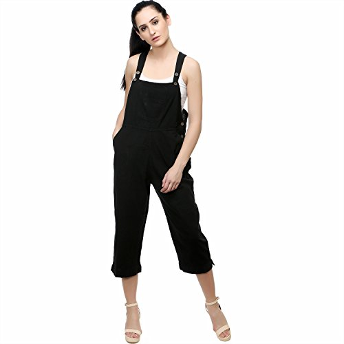 Sadatapan Black Rayon Dungaree For Women-M