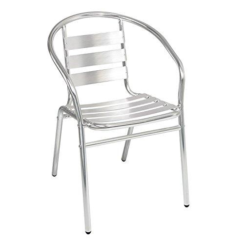 Qualität von Mojawo® Aluminium Bistrostuhl stapelbar Stapelstuhl Campingstuhl Gartenstuhl Küchenstuhl Balkonmöbel Gartensitzmöbel Silber