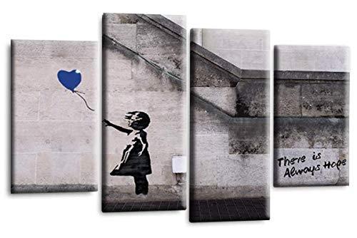 Le Reve Canvas Art Banksy Hope Leinwandbild, Motiv: Mädchen mit Luftballon, Peace Love Graffiti, Blau/Grau