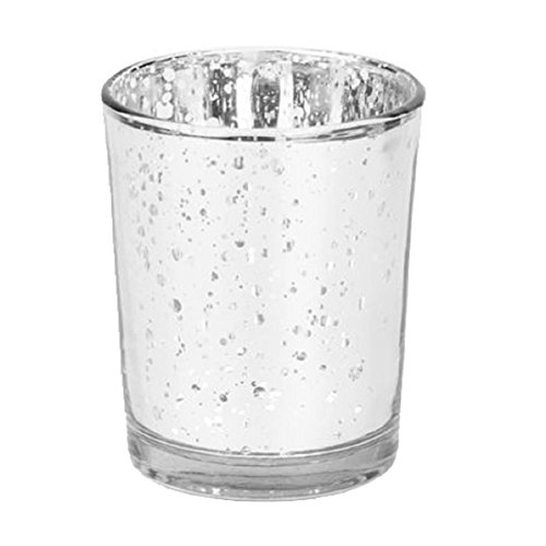 Pu Ran Mosaic Glass Tealight Votive Candle Holder for Wedding Party Bar Home Decor - Silver
