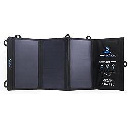 BigBlue 21W Solar Ladegerät Outdoor 2-Port USB Solarladegerät für Handy Wasserdicht für Smartphone iPhone iPad Samsung und weitere, Schwarz
