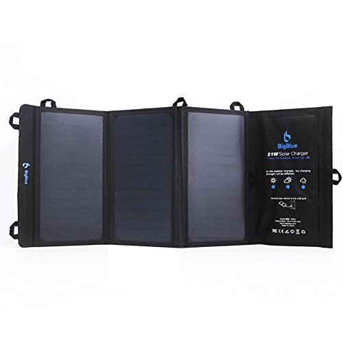 BigBlue 21W Solar Ladegerät Outdoor 2-Port USB Solarladegerät für Handy Wasserdicht für Smartphone iPhone iPad Samsung und weitere, Sch...