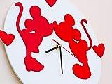 Orologio da parete in legno con Topolini'Amore'