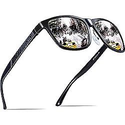 ATTCL Hombre Gafas de sol Polarizado Al-Mg Metal Super Ligero Marco 18587 Black-Silver