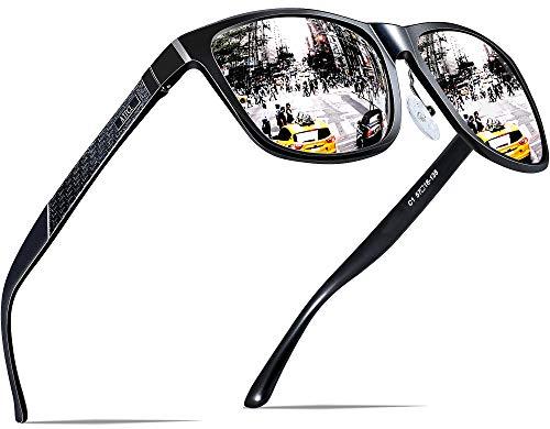 ATTCL Herren Polarisierte Fahren Sonnenbrille Al-Mg Metall Rahme Ultra Leicht 8587 Silver (Verspiegelten Sonnenbrillen Klar)