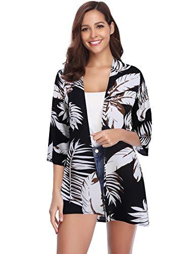 Abollria Damen Chiffon Kimono Cardigan 3/4 Arm Tropenprint Strand Jacke Leicht Bikini Cover up, Schwarz, M (Fashion Women Casual Chiffon)