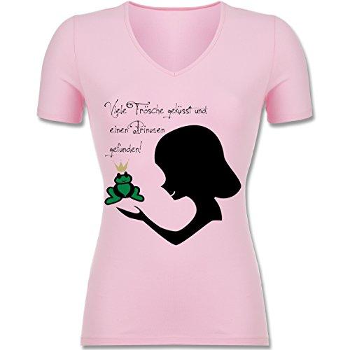 JGA Junggesellinnenabschied - Viele Frösche geküsst - XXL - Rosa - F281N - Tailliertes T-Shirt mit V-Ausschnitt für (Frosch Outfits Der Und Prinzessin)