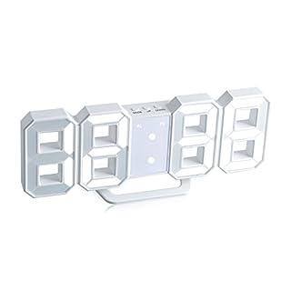 Aznoi Digital 3D LED Wecker, abelle digital tabelle wanduhr mit Stundenanzeige und dimbare Heilligkeit. (Weiß)