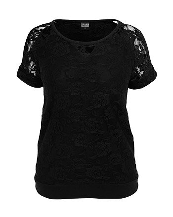Urban Classics Ladies Double Layer Laces Tee Maglia donna nero L