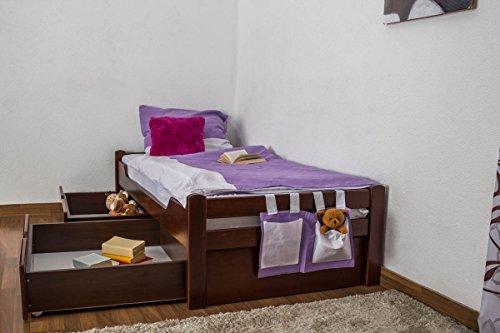 """Einzelbett / Stauraumbett """"Easy Möbel"""" K1/1n inkl 2 Schubladen und 2 Abdeckblenden, 90 x 200 cm Buche Vollholz massiv Dunkelbraun"""