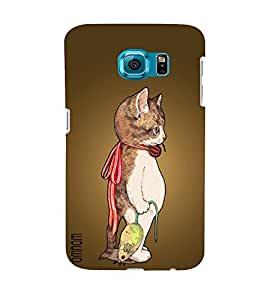 Omnam Cat Standing And Thinking Alone Printed Desginer Back Cover Case For Samsung Galaxy S6 EDGE
