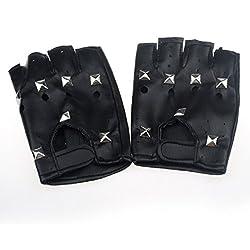 Malloom® teatral fresco punk Hip hop Cuero de la PU Negro de medio dedo clavo cuadrado guantes
