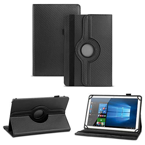 NAUC Robuste Carbon-Optik Tablet Schutzhülle für TrekStor SurfTab Twin 10.1 aus Kunstleder mit Standfunktion und 360° Drehfunktion Hülle Cover Case Stand Tasche Ständer, Farben:Schwarz