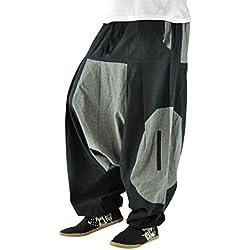 virblatt Pantalones cagados Corte Suelto para Hombres y Mujeres como Ropa Hippie y Pantalones Bombachos Estilo Harem M - XL – Ausleben LXL