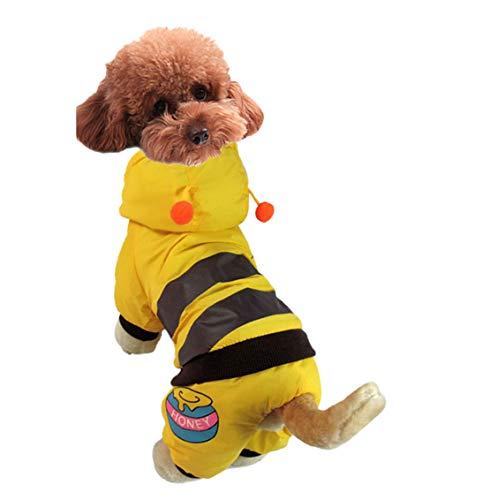 Mieel Haustier Kleidung Warme Pet Bekleidung Washed Haustier Jacke Winter Hunde Jumpsuit Puppy Kostüme Wintermäntel Lovely Kapuzenpullover Bequemes Biene Muster (Weibliche Biene Kostüm)