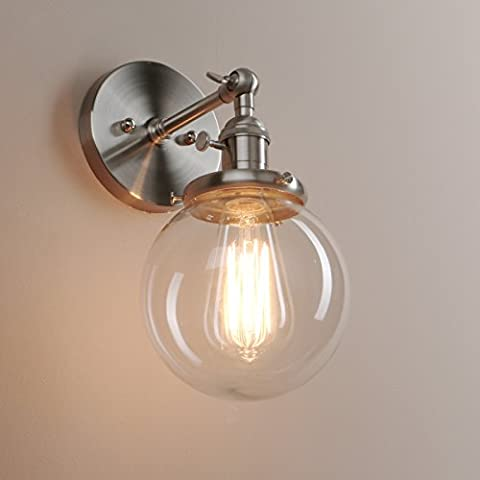 Pathson 15cm Industrial Vintage Clear Glass Globe Retro Sconce Wall Light Lamp Fixture (Brushed)