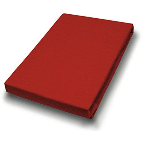 Hahn Haustextilien Jersey-Laken für Matratzentopper 140-160x200-220 cm rot