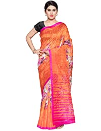 Oomph! Women's Printed Art Silk Sarees - Tangerine & Hot Pink