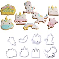 Molde de plástico de unicornio para galletas, molde de azúcar, fondant para decoración de tartas, herramienta para Navidad, 8 piezas/set small B