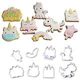 Kunststoff-Einhorn-Form für Kekse, Zucker, Backform, Fondant, Kuchendekoration, Werkzeug für Weihnachten, 8-teiliges Set Größe S B