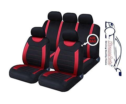 XtremeAuto ss5293.type6 Komplettes Universal-Set mit Autositzbezüge, inkl. Aufkleber, Rot / Schwarz