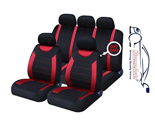 XtremeAuto® ss5293.type16 Universal Fit Carnaby Full Set Of Red / Black Car Seat Covers Type 16 + Styling Sticker