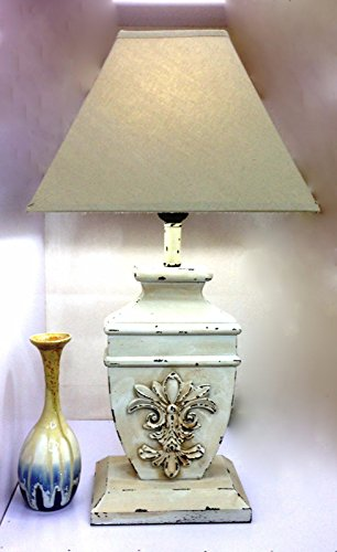 GMMH Charmanter Landhaus Tischleuchte 50 cm Hohe 66-1 Holz Nachttischlampen Schreibtischleuchte Schreibtischlampe Büroleuchte Lampe Antik Retro Leuchten Stehleuchte