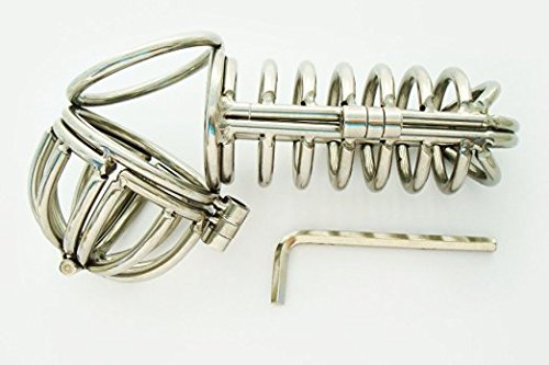 "Heavy Duty Stahl Keuschheitsgürtel gerade Käfig .. Heavy Duty: Steel Chastity Device /4"" Straight Cage / Ball Cage by Manhood AcademyTM . 1 7/8"" (4,5cm) main / Cock ring"