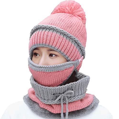 3-teiligen Frauen Winter Outdoor Wool Cap Radfahren Wärme verdicken Winddichtes Multifunktions-Strickmütze Regard