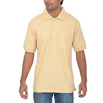 Comfort Plus Men's Casual Collar T Shirt With Pocket ( Beige )