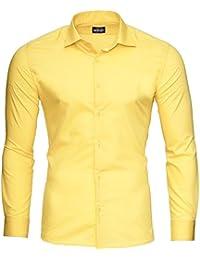 21f182502fa5 Reslad Herren Hemd Slim Fit Bügelleicht Freizeithemd Businesshemd Hochzeit  Hemden Anzug Uni Einfarbige Männerhemden RS-