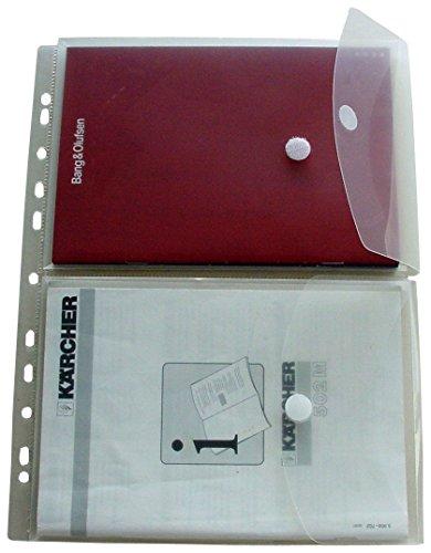 EXXO by HFP 35761 2 Dokumententasche A5 auf A4, Klettverschluss und Abheftrand, 5 Stück mit Kölappe mit Klettverschluss mit 12 mm Füllhöhe, transparent klar