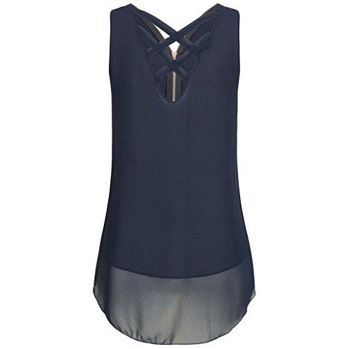 Ba Zha HEI Frauen Sommer Spitze Weste Top Sleeveless beiläufige Tank Bluse Tops Damen Schulterfrei Weiches Material Ladies Sommer Elegant Chic Oberteil Locker Bluse Tops T-Shirt (Blau, M)