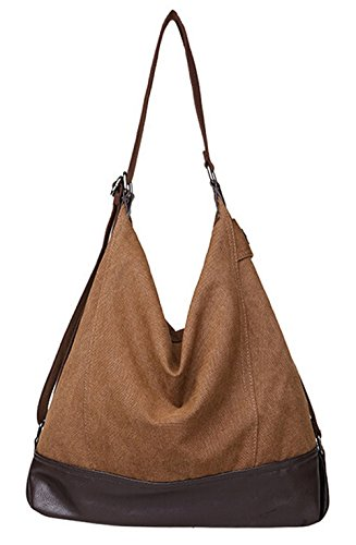 DATO Damen Freizeittasche Große Schultertasche Vintage Umhängetasche Canvas Shopper Handtasche Tragetasche Tote Multifunktion mit Schulterträger Messenger Bag Kaffee
