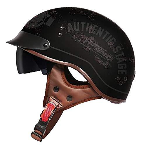 GYFY Motorradhelm Harley Retro personalisierte Lokomotive abgedeckt halben Helm DOT Zertifizierung (Brille),L