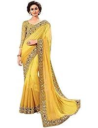 Vinayak Textiles Women's Faux Georgette Saree (Yellow, Free Size)