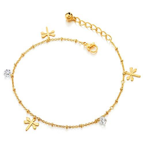 COOLSTEELANDBEYOND Acciaio Inossidabile Color Oro Cavigliera da Donna con Libellule Charms, Zirconi e Campana