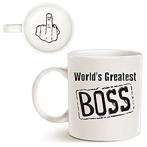 Christmas Gifts Funny Best Boss Coffee Mug World's Greatest Boss with Middle Finger on the Bottom Unique Present Idea Porcelain Cup, Best Gag Gifts idea for Boss Day, White 14 Oz by LaTazas