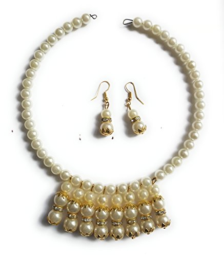 Pearl Locket Set Branded Pearl AD bridal bollywood handmade fine jadau Jewelry(GEO33)  available at amazon for Rs.359