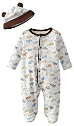 Little Me Baby Boy Newborn Cute Puppies Footie, White Print, 6 Months