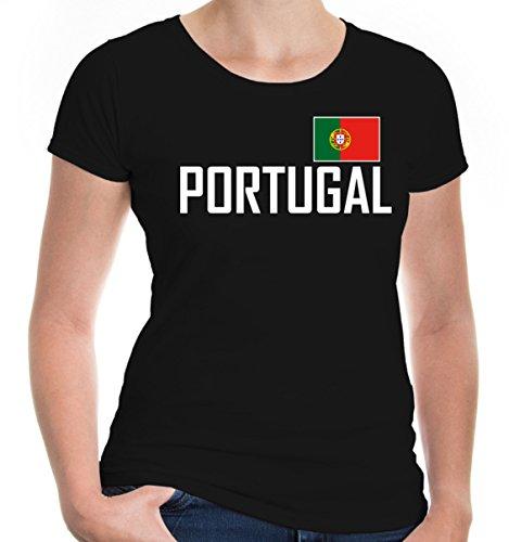 buXsbaum Damen Girlie T-Shirt Portugal Portuguesa Portogallo Europa Ländershirt Fanshirt Flagge Trikot Reise   M, Schwarz
