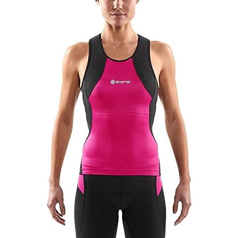 Skins 400 Top de compresión sin mangas para mujer, camiseta, color Negro - negro / rosa, tamaño XS (talla del fabricante: FXS)