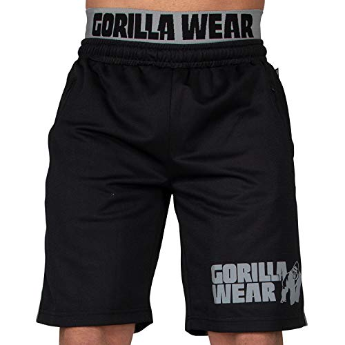 Gorilla Wear California Mesh Shorts - Trainingshose Bodybuilding Männer Schwarz/Grau S/M