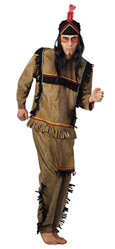 Faschingsfete Herren Hochwertiges Kostüm Indianer, Braun, Größe -